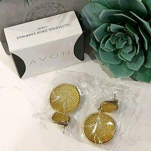 NIB Avon Clear Glitter Drop Earrings